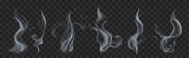 透明な灰色の現実的な半透明の煙または蒸気のセット