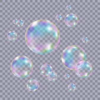 Набор реалистичных прозрачных красочных мыльных пузырей с отражением радуги изолированы