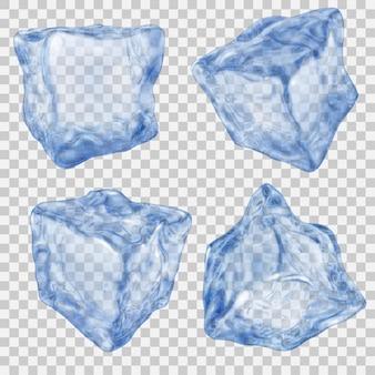 透明な背景に青い色でリアルな透明な角氷のセット。ベクターファイルのみの透明度