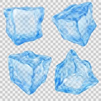 Набор реалистичных прозрачных кубиков льда в голубых тонах на прозрачном фоне