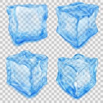 투명에 그림자와 밝은 파란색 색상의 현실적인 투명 아이스 큐브 세트