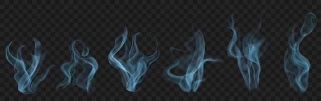 暗い背景で使用するための、水色のリアルな透明な煙または蒸気のセット