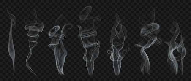 白と灰色のリアルな透明な煙や蒸気のセット