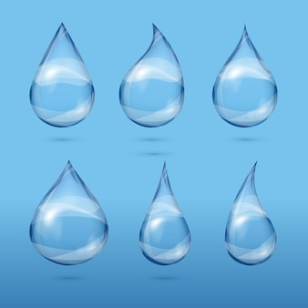 Set of realistic transparent water drops