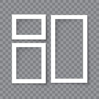 透明な背景に分離された影の効果を持つ現実的なベクトル空白フォトフレームのセット。さまざまなサイズの写真