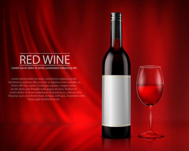 Набор реалистичной векторной иллюстрации стеклянных бутылок вина и очки с белым и красным вином