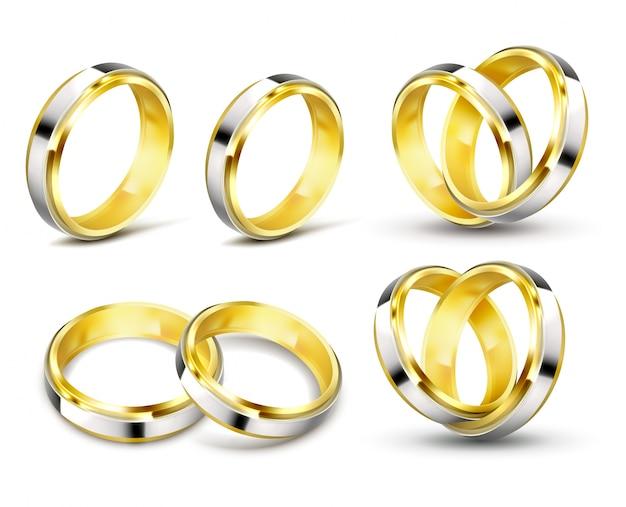 그림자와 함께 금 결혼 반지의 사실적인 벡터 일러스트 레이 션의 설정