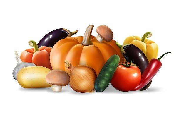 Набор реалистичных овощей, изолированных на белом