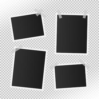 現実的なビンテージフォトフレームのセット Premiumベクター