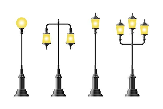 Набор реалистичных старинных уличных фонарей