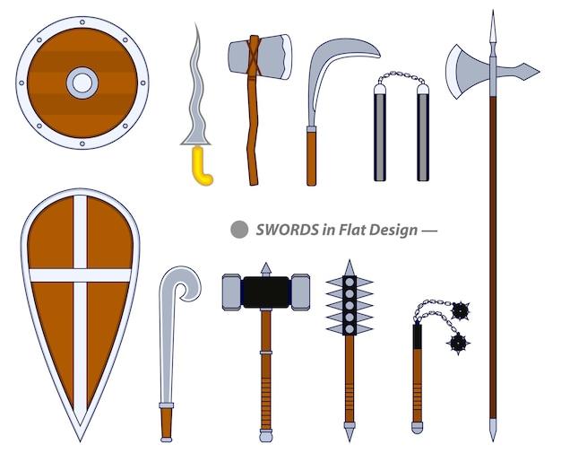 Набор реалистичного воина, меч или крест мечей, щит или топор, меч, мультяшный щит, или керис