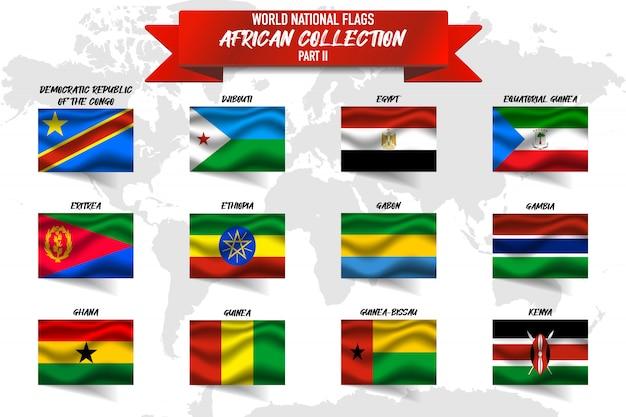 世界地図上のアフリカ諸国の現実的な手を振っている国旗のセットです。エジプト、ガボン、ガーナ、ギニア、その他