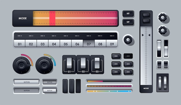 灰色で分離されたリアルなwebボタンのセット