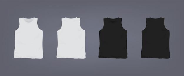 Комплект реалистичной бело-черной футболки унисекс без рукавов. вид спереди и сзади. коллекция иллюстраций на сером фоне.