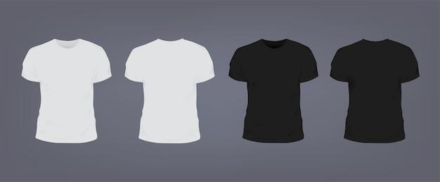 ラウンドネックのリアルな白と黒のユニセックススリムフィットtシャツのセット。正面図と背面図。