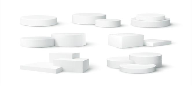 白い背景で隔離の現実的な白い空白の製品表彰台シーンのセット