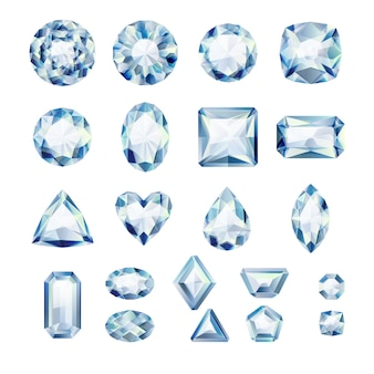 현실적인 흰색 보석 세트. 화려한 보석. 흰색 바탕에 다이아몬드입니다.
