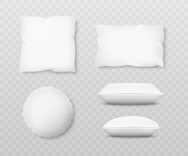 D 그림자 효과와 현실적인 흰색 베개 모형 세트