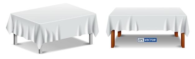 가구 또는 테이블이 있는 실제 흰색 식탁보 격리 또는 접힌 식탁보 세트