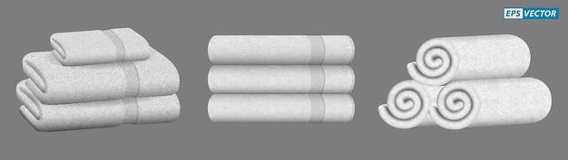 Набор реалистичного белого полотенца, изолированного или сложенного полотенца для роскошной гостиничной больницы или ароматизированного полотенца