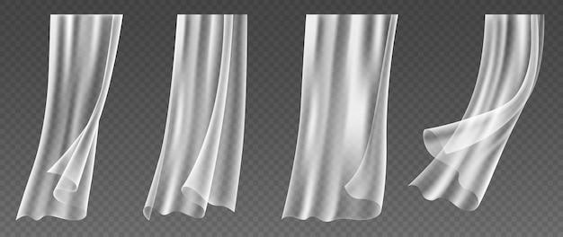 風に吹かれるリアルな窓のカーテン、透明なテキスタイルの白い布、柔らかく軽量の透明な素材のセット。 3dベクトル図