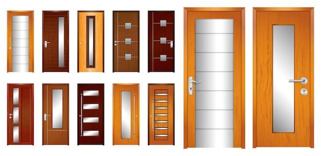 홈 오피스나 아파트를 위한 현실적인 나무 문 격리 또는 현대적인 나무 문 스타일