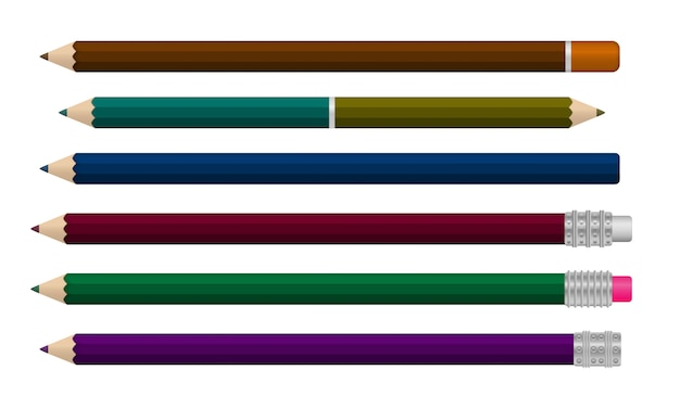 白い背景に分離された現実的なライティングペンのセット。 3d色の学校の文房具。さまざまな角度で現実的なマルチカラープラスチックペンのテンプレート。図