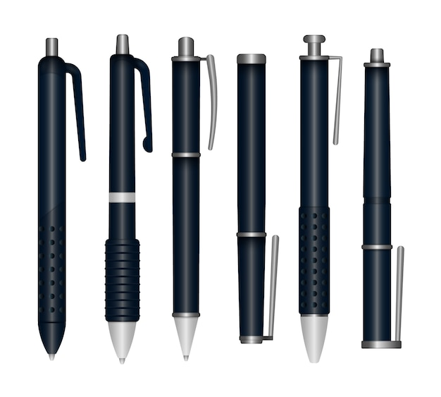 白い背景に分離された現実的なライティングペンのセット。 3d色の学校の文房具。さまざまな角度で現実的なマルチカラープラスチックペンのテンプレート。