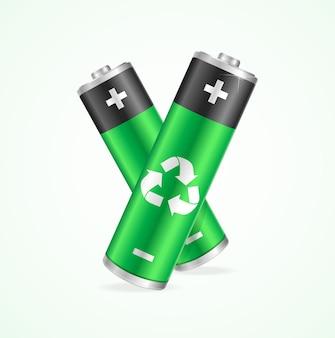 白で隔離のリサイクルバッテリーのセット