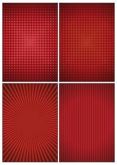 赤い抽象的なヴィンテージレトロな背景のセットです。