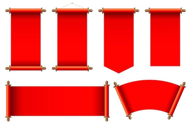 赤い古代の巻物イラストのセット