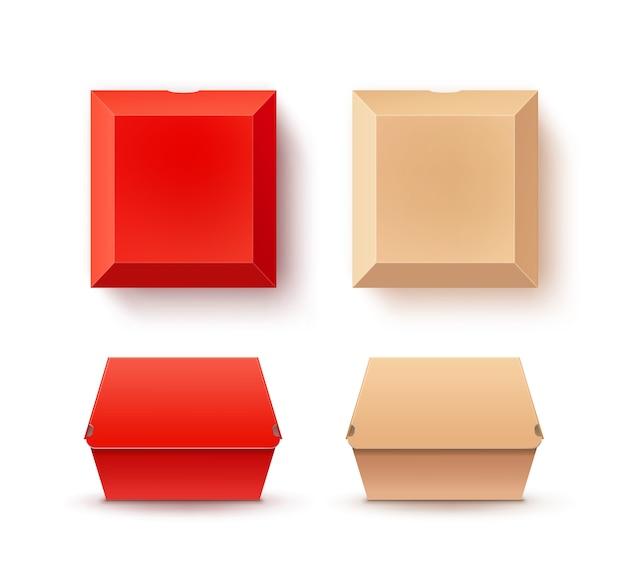 ハンバーガー用の赤とベージュの紙箱のセット