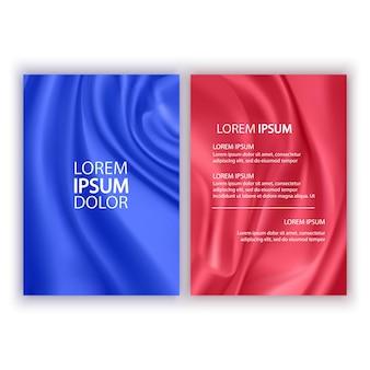赤と青の波状の抽象的なカバーのセットは、白い背景のパンフレットに分離されたシルクを流れるチラシ