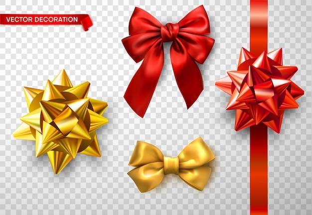 투명 한 배경에 고립 된 빨간색과 황금 밝은 새틴 3d 활 세트 축제 디자인 및 생일 새 해 크리스마스 선물 장식 벡터 일러스트 레이 션