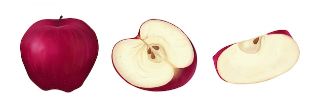 赤いリンゴのセット