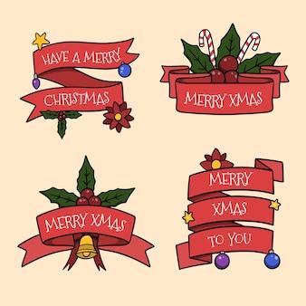 赤いクリスマスリボンのセット