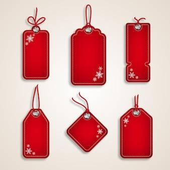 クリスマスホリデーショッピングプロモーション用の赤いクリスマスセール紙タグのセット。