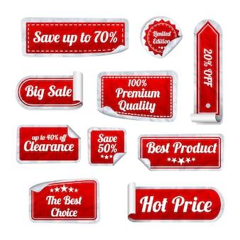 흰색 바탕에 빨간 구겨진 된 종이 판매 스티커의 집합입니다. 원형, 정사각형 및 직사각형 스티커. 삽화