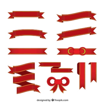 Set of red decorative christmas ribbons