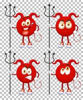 투명 한 배경에 표정으로 붉은 악마 만화 캐릭터 세트
