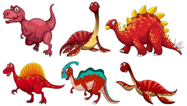 赤い恐竜の漫画のキャラクターのセット