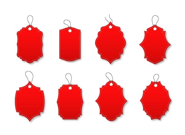 다양 한 모양으로 빨간색 할인 레이블 집합 특별 제공 코드와 레이블입니다.