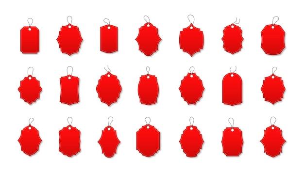 다양한 모양의 빨간색 할인 레이블 세트 특별 제공 코드가 있는 레이블