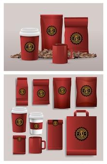 赤のエレガントなコーヒーパッキン製品のセット