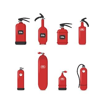 빨간 소화기, 아이콘-안전 기호-보호 장비-긴급 기호 집합입니다. 사람들을 보호하는 건물의 안전을 보장하기 위해 다양한 유형의 소화기.