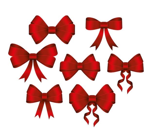 흰색 배경 그림에 빨간색 선물 boes 세트