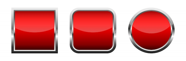 赤い光沢のあるボタンのセットです。ベクトルイラスト。