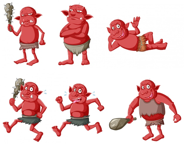 赤いゴブリンのセットまたは分離された漫画のキャラクターのさまざまなポーズのトロール