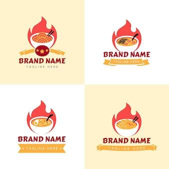 Набор красного горячего логотипа японского ресторана с огнем и миской суп из лапши рамэн в сливочном фоне