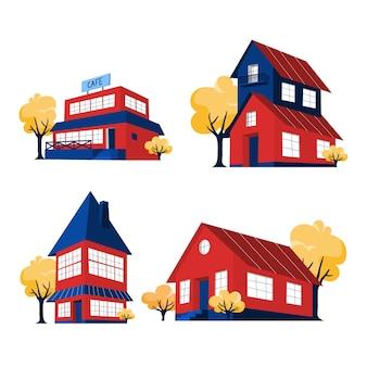 Набор красных домов. городские коттеджные постройки. сбор квартиры. изолированные плоские векторные иллюстрации
